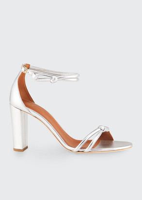 Malone Souliers Fenn Tubular 85mm Metallic Ankle-Strap Sandals
