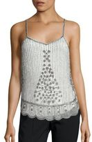 Saks Fifth Avenue Embellished Scalloped Tank