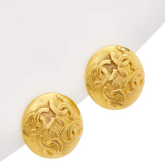 Chanel Gold-Tone 4 Cc Rough Button Earrings