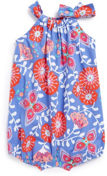 Tea Collection 'Royal Flower' Bubble Romper (Baby Girls)