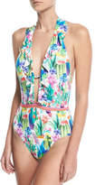 Nanette Lepore Cactus Floral-Print Plunging One-Piece Swimsuit