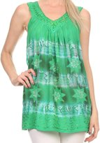 Sakkas 16520 - Jalela V Neck Sleeveless Embroidered Tie Dye Tank Top Blouse Shirt Top - OS