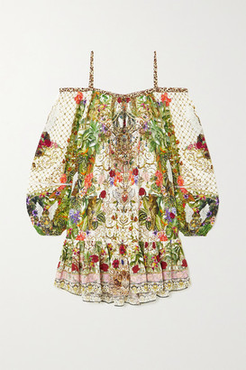 Camilla Off-the-shoulder Crystal-embellished Printed Silk Crepe De Chine Mini Dress - Green