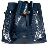 Mulberry Tyndale Croc Embossed Calfskin Leather Bucket Bag - Blue
