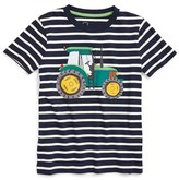 Boy's Mini Boden Tractor Applique Stripe T-Shirt