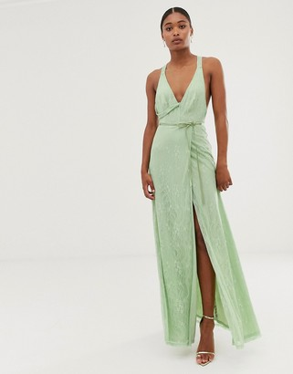 Asos DESIGN lace wrap maxi dress with satin tie belt