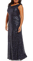 Cachet Plus Cowl-Neck Sleeveless Sequined Gown