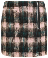 Markus Lupfer Ida Plaid Wool-blend Wrap Mini Skirt - Black