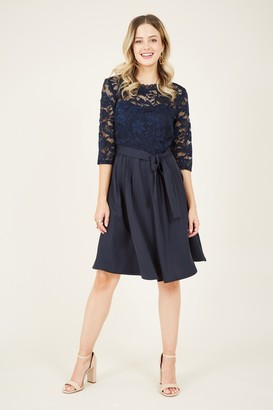 Yumi Navy Lace Tie Skater Dress