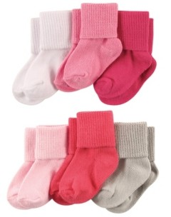 Luvable Friends Basic Cuff Socks, 6-Pack,0-24 Months