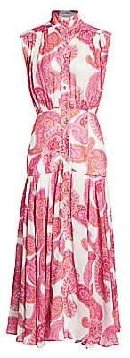 Zimmermann Women's Peggy Sleeveless Paisley-Print Midi Shirtdress