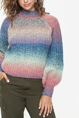 Forever 21 Striped Balloon-Sleeve Sweater