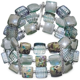 Antica Murrina Veneziana Atelier Byzantium - Grey Murano Glass & Silver Leaf Stretch Bracelet