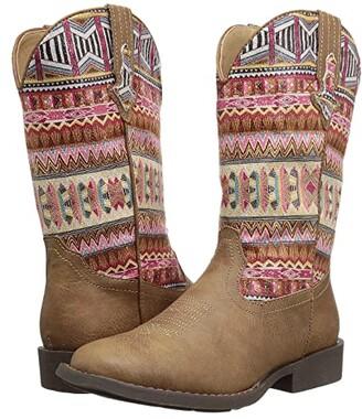 Roper Azteca (Toddler/Little Kid) (Tan Faux Leather Vamp/Aztec Printed Shaft) Cowboy Boots