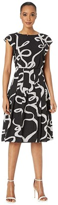 Adrianna Papell Dotted Ribbon Blouson Dress (Black Multi) Women's Dress