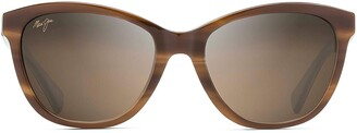 Maui Jim Canna HS769-03T | Polarized Tortoise with White and Blue cateye Frame Sunglasses HCL Bronze Lenses with Patented PolarizedPlus2 Lens Technology
