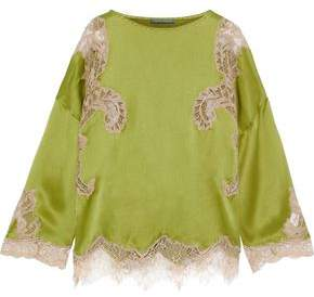 Alberta Ferretti Lace-paneled Silk-charmeuse Blouse