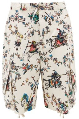J.W.Anderson Oversized Camelot-print Drawstring Cotton Shorts - Mens - White Multi