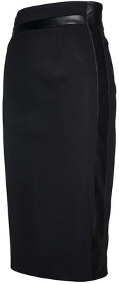 Conquista Black Pencil Skirt With Leather Detail
