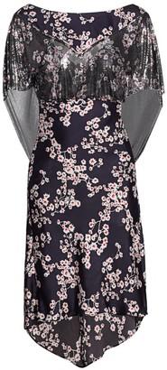 Paco Rabanne Metallic Mesh-Sleeve Satin Floral Dress
