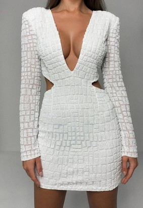 Missguided White Embellished Cut Out Side Mini Dress