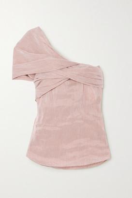Chloé One-shoulder Striped Linen-blend Top - Beige