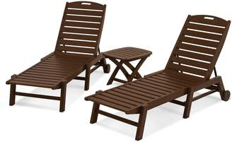 Polywood 3-piece Nautical Outdoor Folding Chaise Lounge Chair & Side Table Set