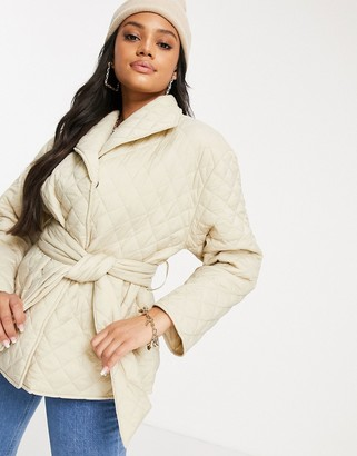 NA-KD quilted short jacket with belt in beige
