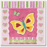Stupell Industries The Kids Room by Stupell Yellow and Red Butterfly with Stripes Square Wall Plaque