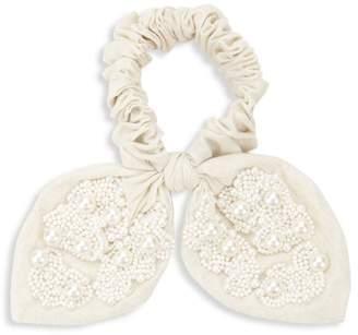 Deepa Gurnani Blaire Faux Pearl & Crystal Bow Scrunchie