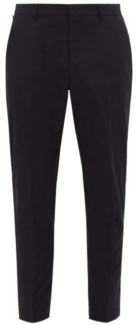 Prada Tapered Leg Cotton Blend Trousers - Mens - Blue Multi