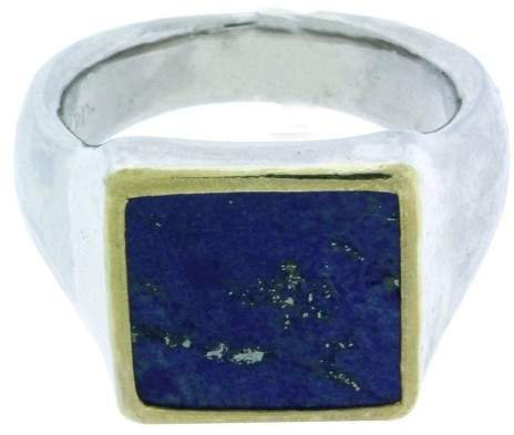 Gurhan 925 Sterling Silver & Palladium Buff Square Lapis Ring Size 10.5