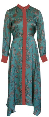 Anna Etter Green Satin Dress Edem With Japanese Style Floral Print