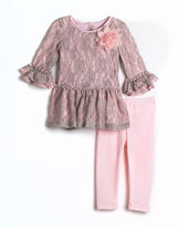 PIPPA & JULIE Baby Girls 12-24 Months Two-Piece Glitter & Lace Dress & Leggings Set