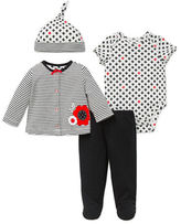 Offspring Four-Piece Cotton Striped Tee, Floral Printed Bodysuit, Solid Pants and Floral Printed Hat Set