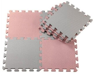Anstel Puzzle Floor Mat 24 Pack - Pink/Light Grey