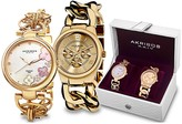 Akribos XXIV Women's Gold-Tone Twist Chain Watch Gift Set