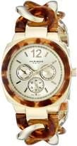 Akribos XXIV Women's AK641YG Ultimate Multi-Function -Tone and Tortoise Pillow-Cut Twist Chain Bracelet Watch