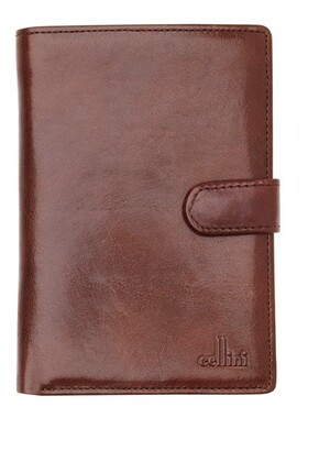 Cellini Leather Bifold Wallet with Tab Closure CW0074 Tan