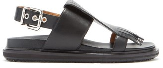 Marni Fringed Leather Slingback Sandals - Black