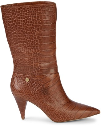 Louise et Cie Winslow Croc-Embossed Leather Mid-Calf Boots