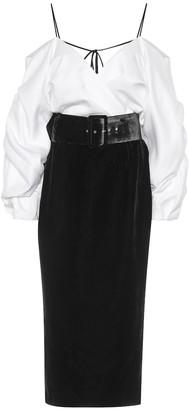 Rasario Cold-shoulder velvet midi dress