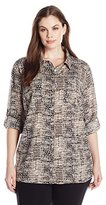 Calvin Klein Women's Plus-Size Printed Roll-Sleeve Tunic