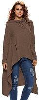 Annflat Women's Asymmetrical Long Sleeve Hooded Loose Tunic Top