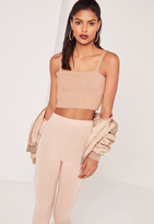 Missguided Square Neck Crop Top Nude