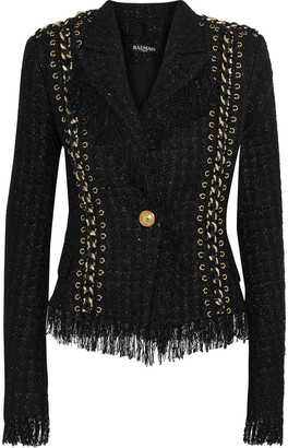 Balmain Chain-embellished Metallic Tweed Jacket