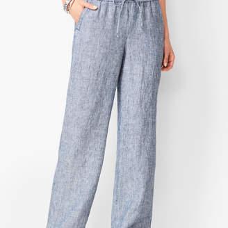 Talbots Washed Linen Wide-Leg Pants - Stripe