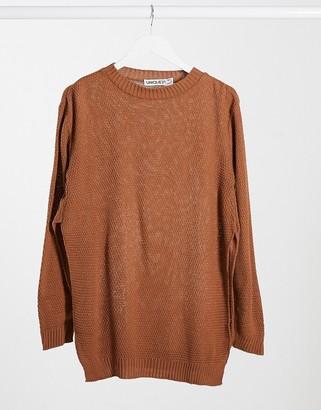 UNIQUE21 side split sweater in brown
