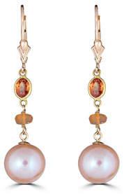 BELPEARL 14k Orange Sapphire, Opal & Pearl Earrings