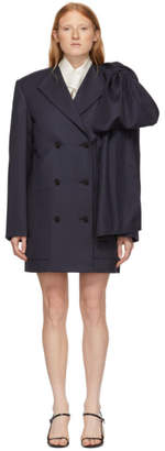 Nina Ricci Navy Wool Stripe Suiting Dress
